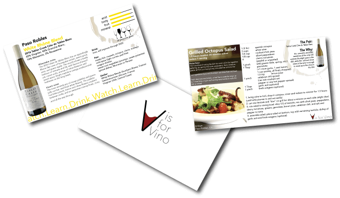 v is for vino wine and recipe cards
