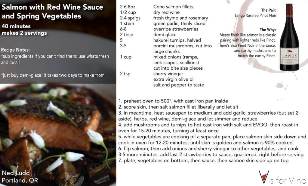 recipe card salmon with red wine sauce