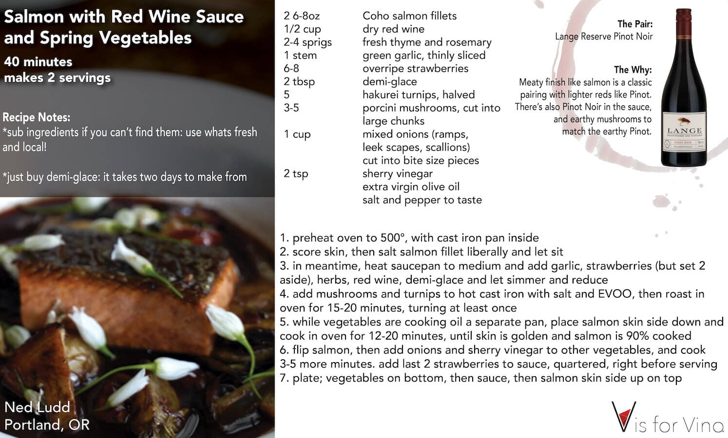 Oregon Salmon with red wine sauce