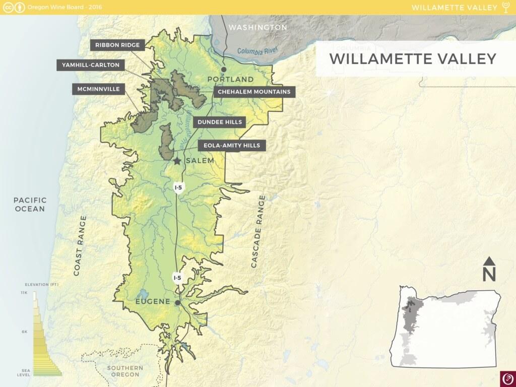 Willamette Valley Wine Map